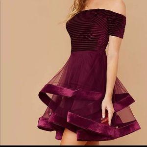 🆕velvet off shoulder flared layer tule dress